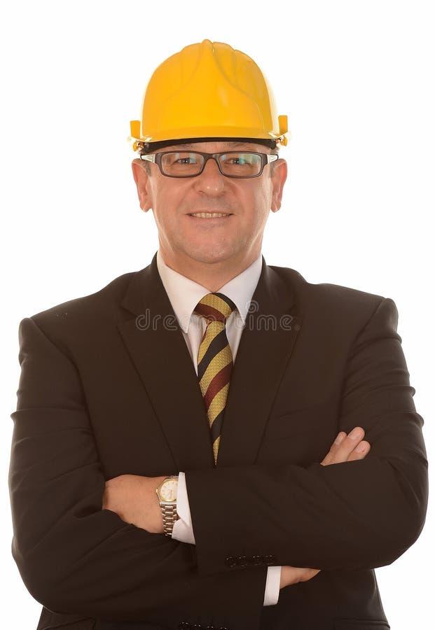 在安全帽的生意人 库存图片