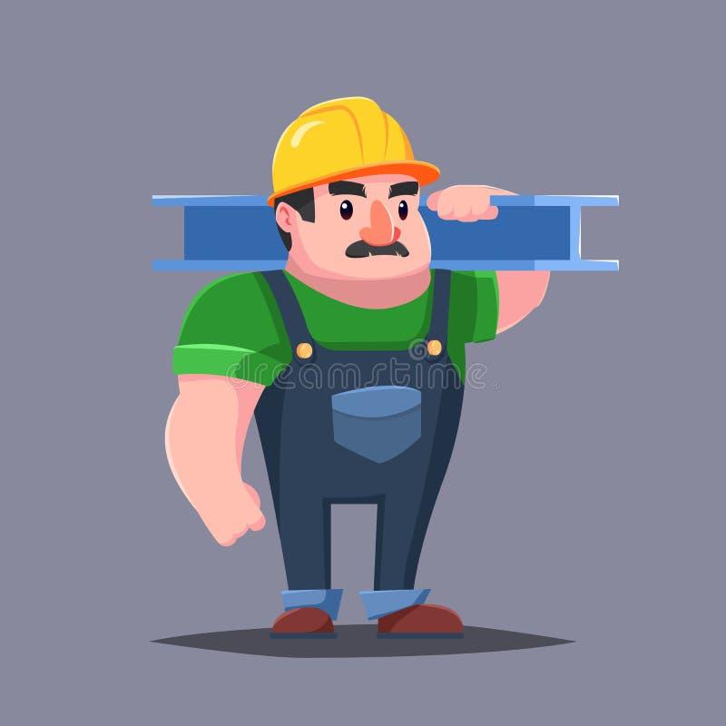 在安全帽的建造者有肌肉的 大力士髭 背景漫画人物厚颜无耻的逗人喜爱的狗愉快的题头查出微笑白色 皇族释放例证