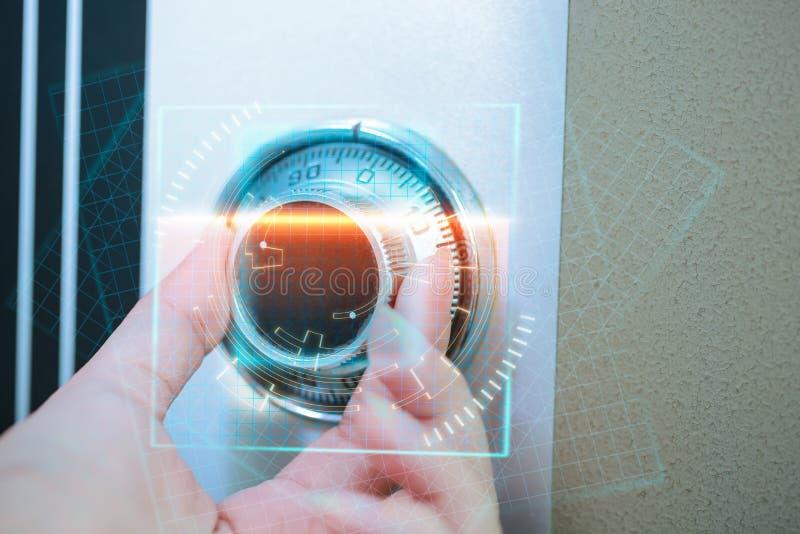 在安全箱银行的安全锁代码 3d概念图象查出的保护白色 库存图片