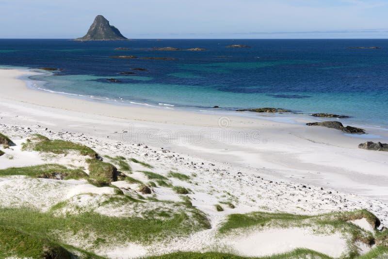 在安德内斯的热带海滩在挪威 库存照片