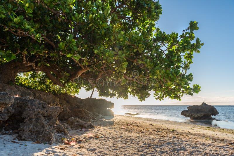 在安达保和省海岛的白色长滩的日出视图 免版税库存照片