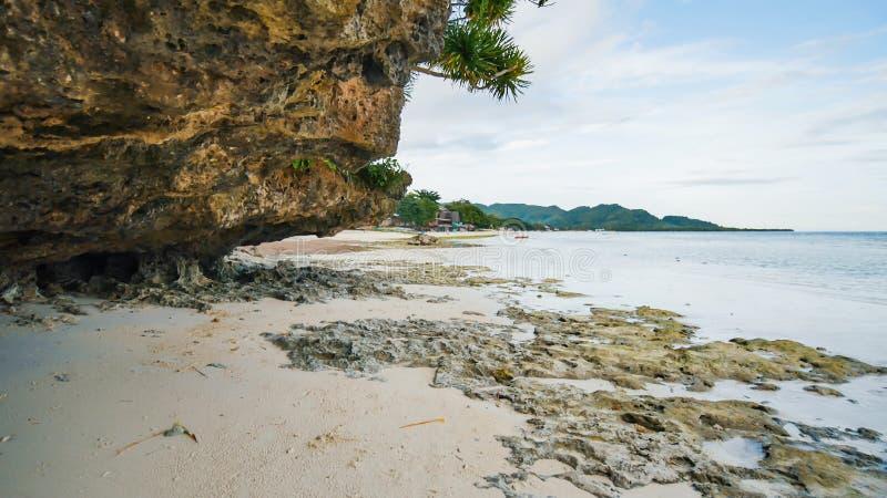 在安达附近的美丽的狂放的热带海滩有花岗岩的晃动 保和岛 菲律宾 免版税库存图片