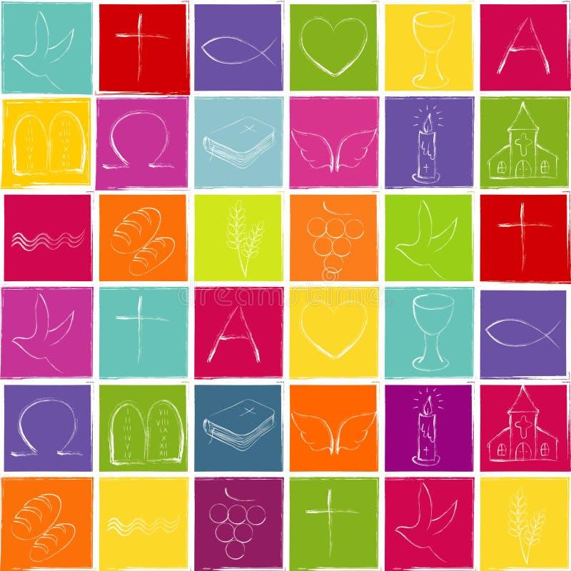 在完全反复性五颜六色的棋盘的背景的基督徒标志- 皇族释放例证