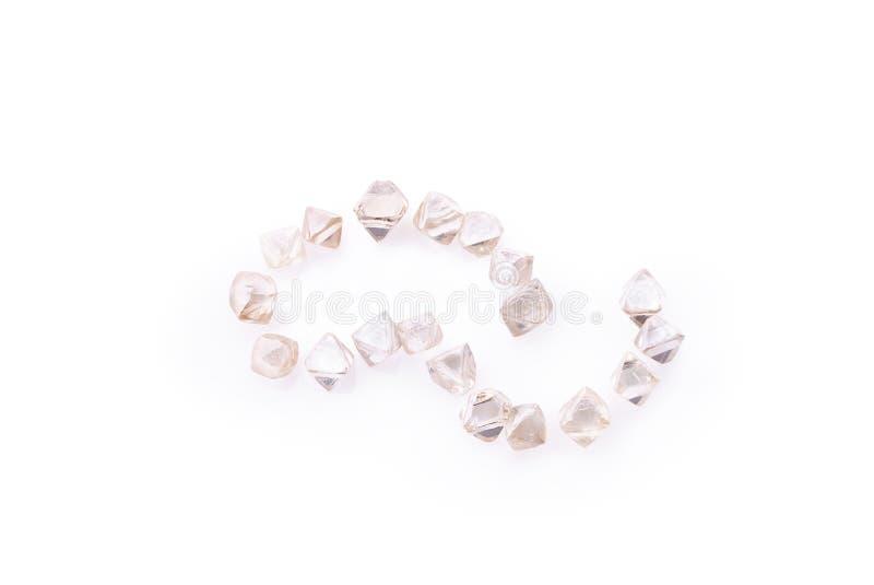 在宏指令的自然透明金刚石在白色背景 免版税库存照片