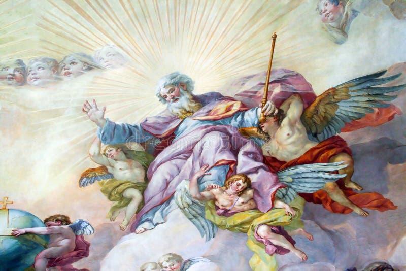 在宗教版本的天花板绘画 免版税图库摄影