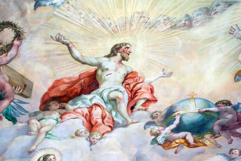 在宗教版本的天花板绘画 库存照片