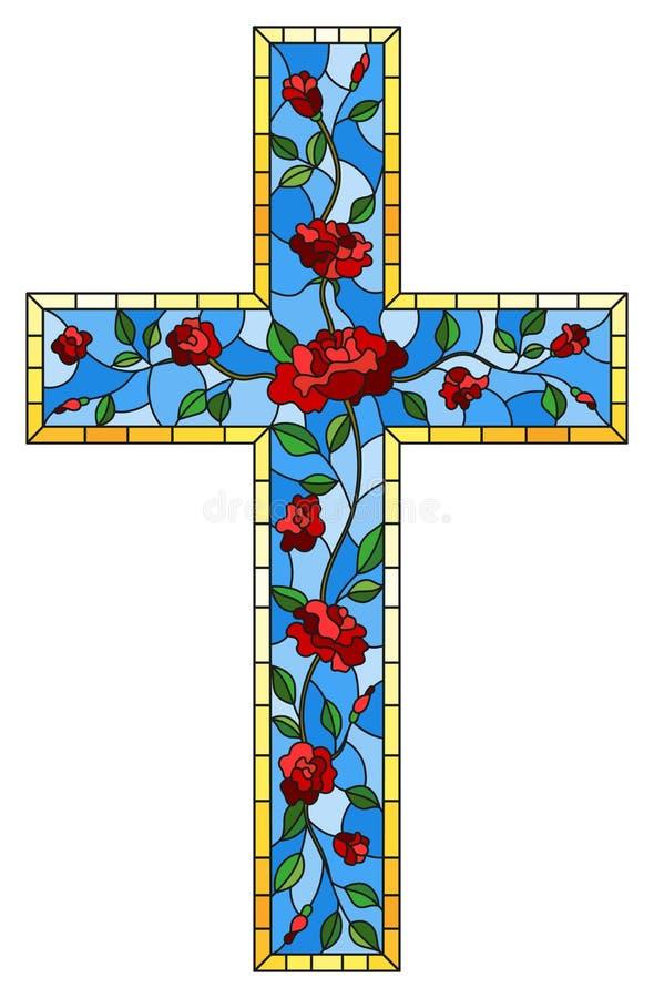 在宗教题材的彩色玻璃例证,以用英国兰开斯特家族族徽装饰的基督徒十字架的形式污迹玻璃窗是 皇族释放例证