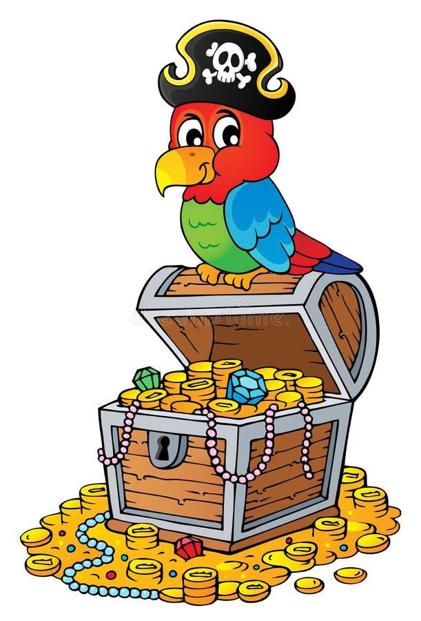 在宝物箱题目2的海盗鹦鹉 皇族释放例证