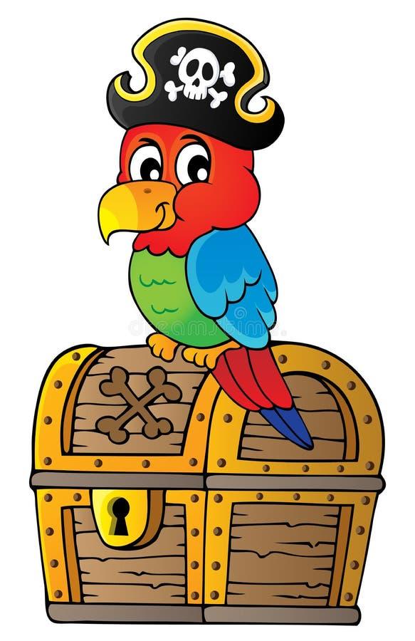 在宝物箱题目1的海盗鹦鹉 库存例证
