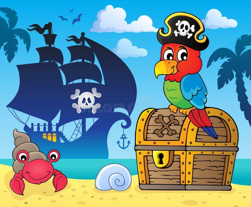 在宝物箱题目3的海盗鹦鹉 向量例证
