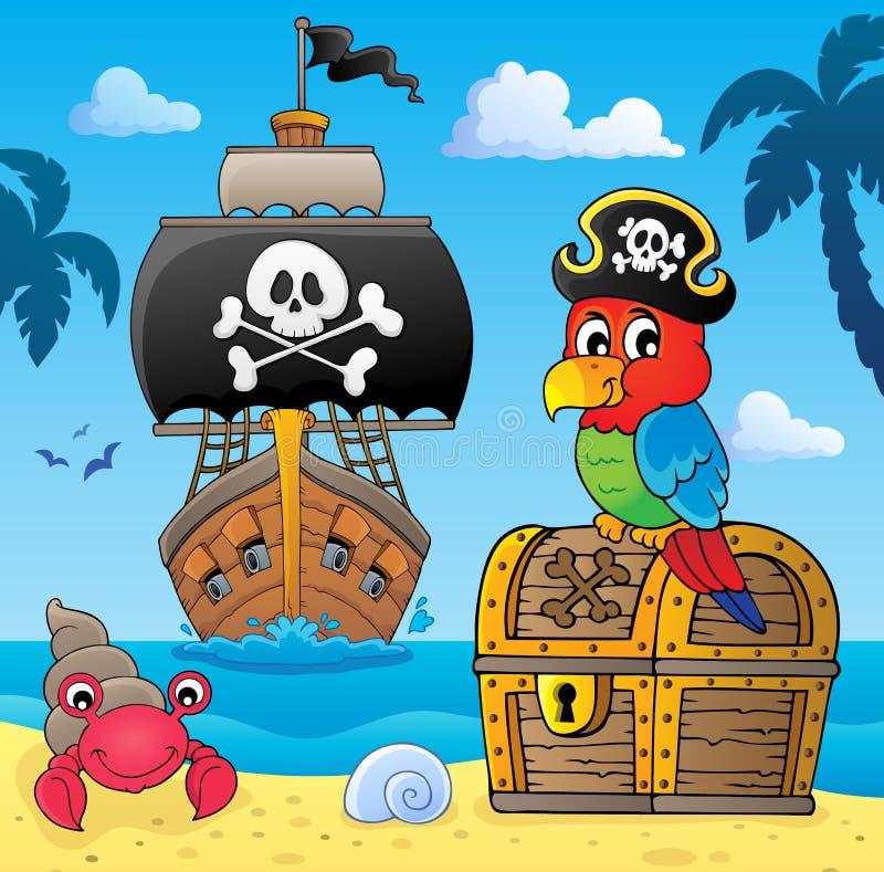 在宝物箱题目4的海盗鹦鹉 库存例证