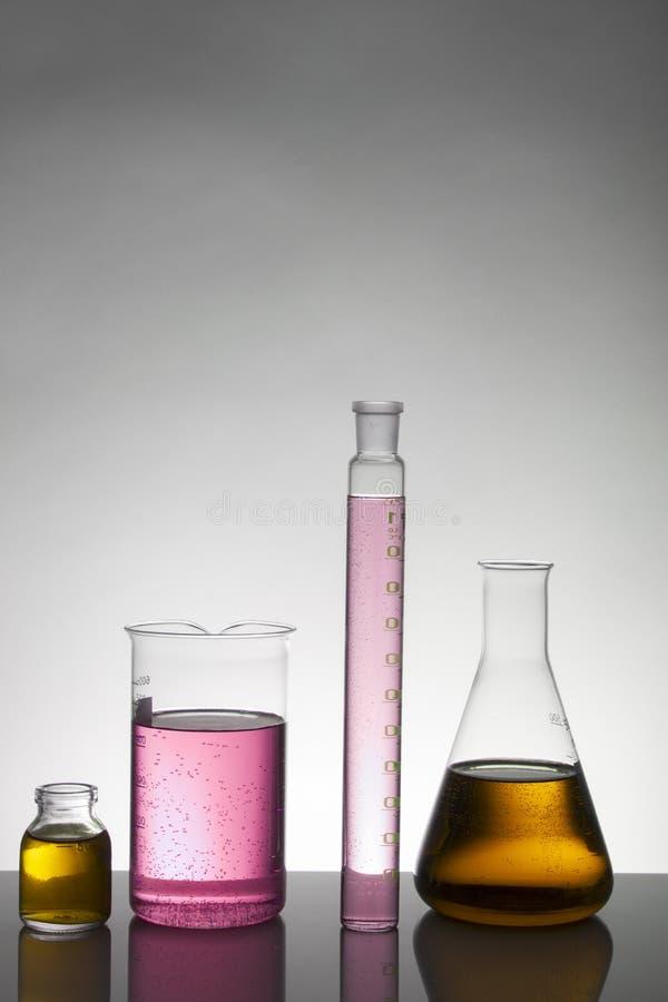 在实验室瓶的液体 科学生物化学的实验室 五颜六色的液体 免版税库存照片