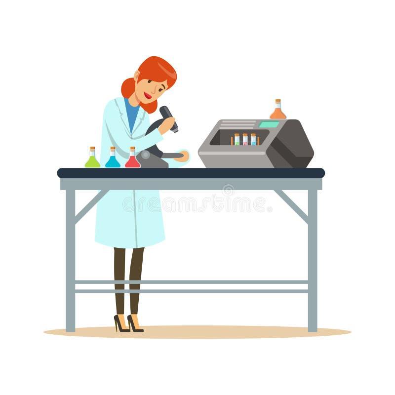 在实验室里医治妇女与显微镜和试管一起使用 库存例证