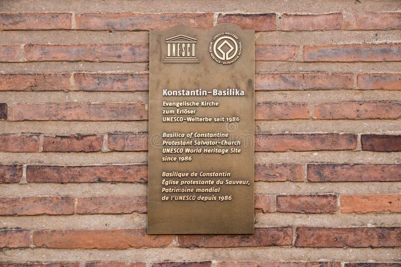 在实验者,德国的联合国科教文组织匾 免版税库存照片