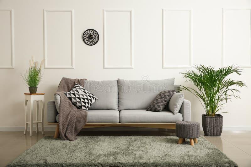 在客厅内部的软的沙发  库存图片