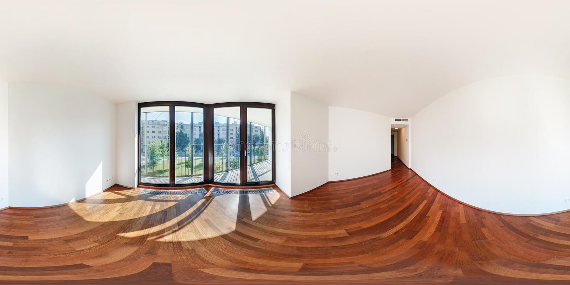 在客厅大厅现代白色空的顶楼公寓内部,充分的无缝的360程度的全景360视图角度图 免版税库存照片