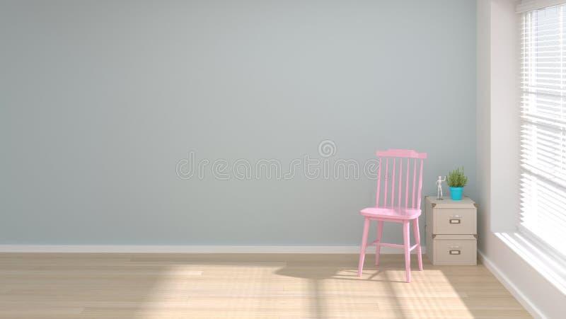在客厅拷贝空间和对象最小的概念的桃红色椅子 库存例证