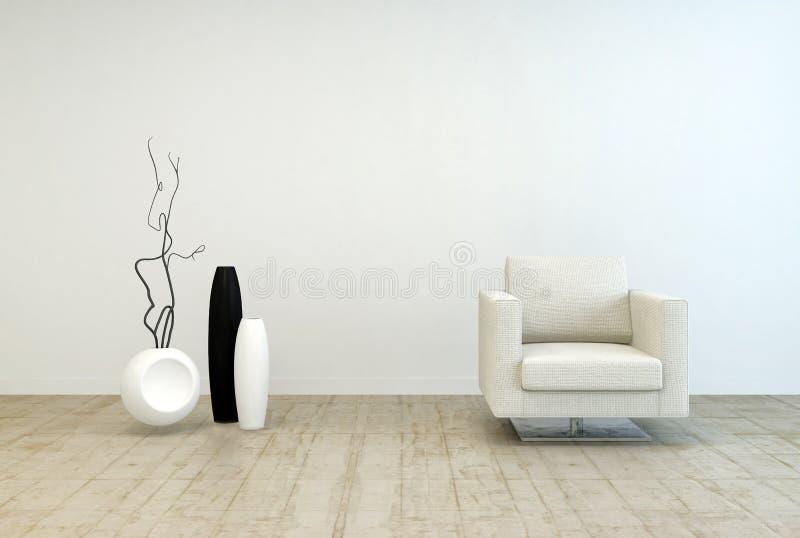 在客厅的白色椅子和花瓶装饰 向量例证