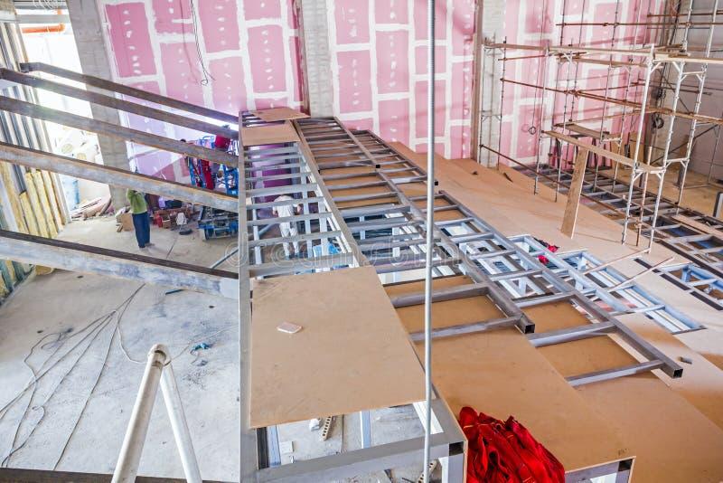 在室内建筑工地构造在金属骨骼的大梁 图库摄影