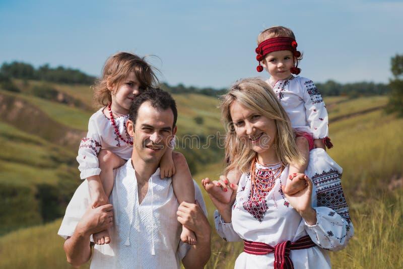 在室外的乌克兰家庭 免版税图库摄影