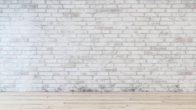 在室里面的砖墙有米黄硬木地板的 皇族释放例证