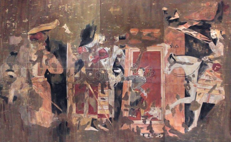 在宫殿古老Penjikent,塔吉克斯坦的墙壁上的壁画 库存照片
