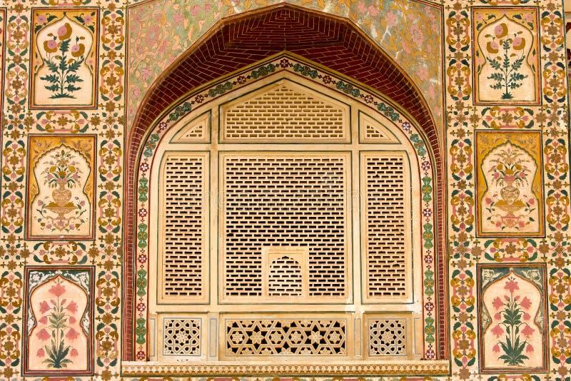 在宫殿墙壁上的美好的样式,斋浦尔,印度 免版税图库摄影