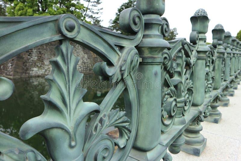 在宫殿附近的老绿色金属篱芭 免版税库存图片