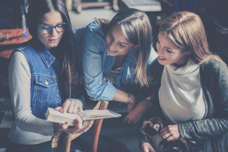 在家一起学习三个学生的女孩 免版税库存照片