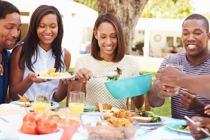 在家享受室外膳食的小组朋友 免版税库存图片