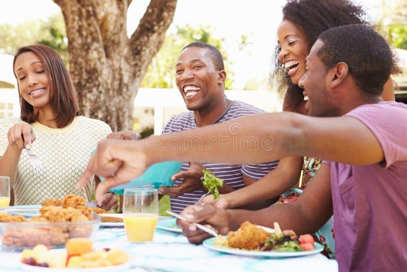 在家享受室外膳食的小组朋友 免版税图库摄影