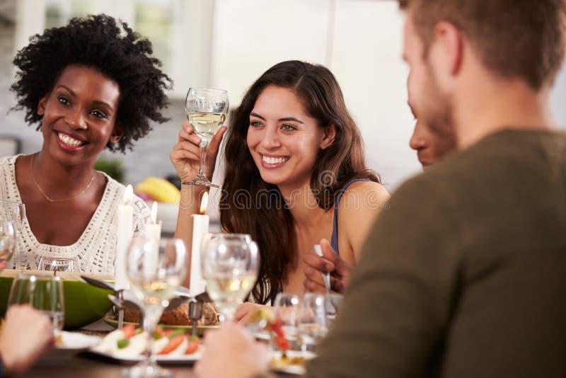 在家享受晚餐会的小组朋友 库存图片
