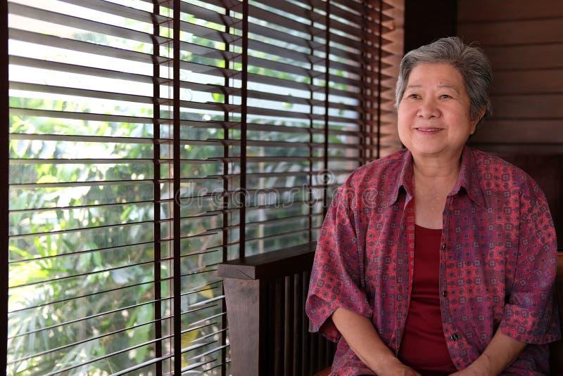 在家休息更老的前辈 坐在liv的愉快的年长妇女 免版税库存图片