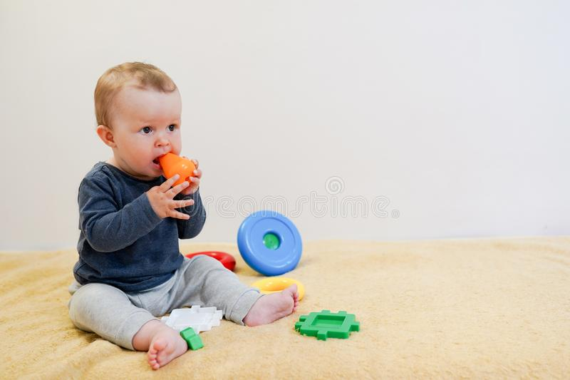 在家使用与五颜六色的玩具的婴孩 与拷贝空间的儿童背景 孩子的早期的发展 库存照片