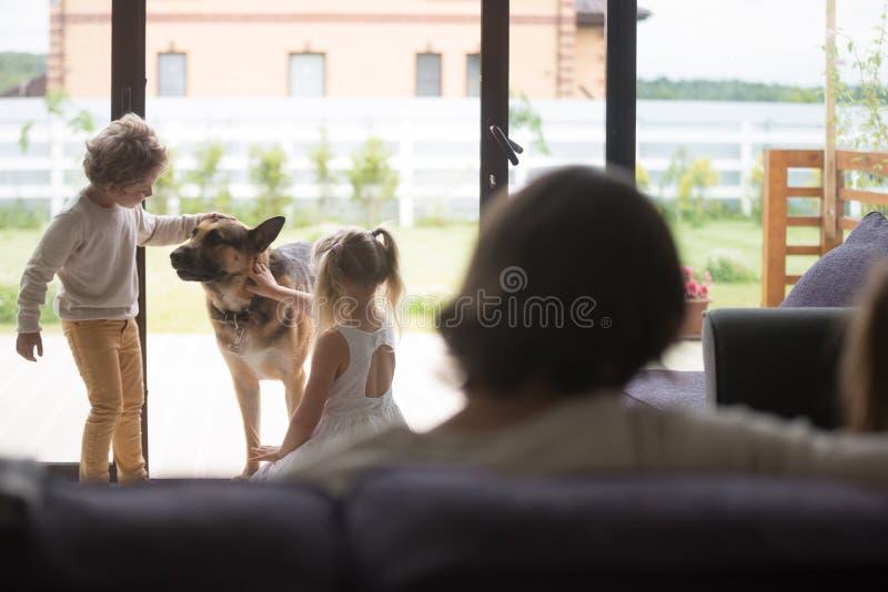 在家使用与牧羊犬的小孩 图库摄影