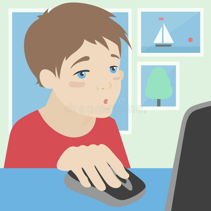 在家使用计算机例证的孩子 库存例证