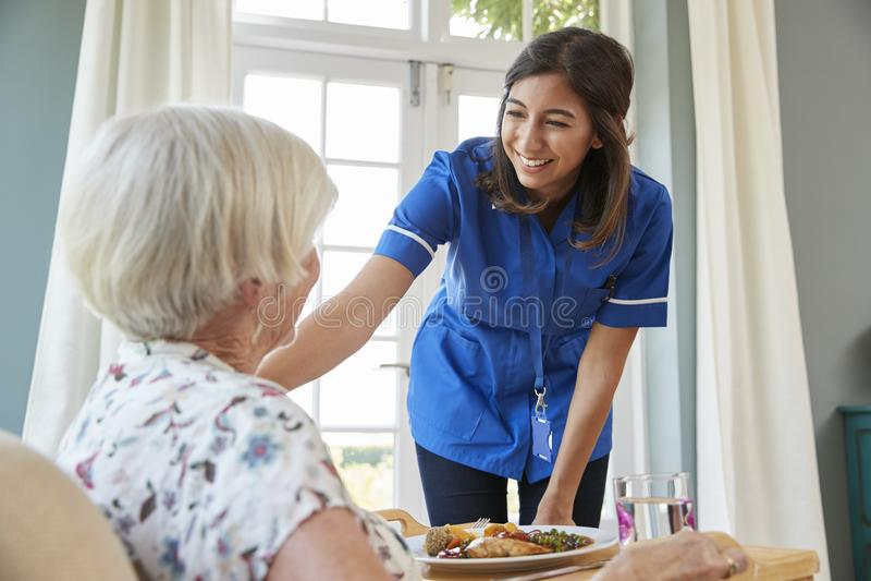 在家关心护士服务晚餐给一名资深妇女 库存照片
