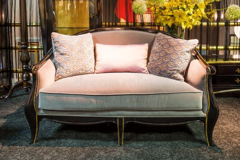 在家具店的美丽的沙发 图库摄影