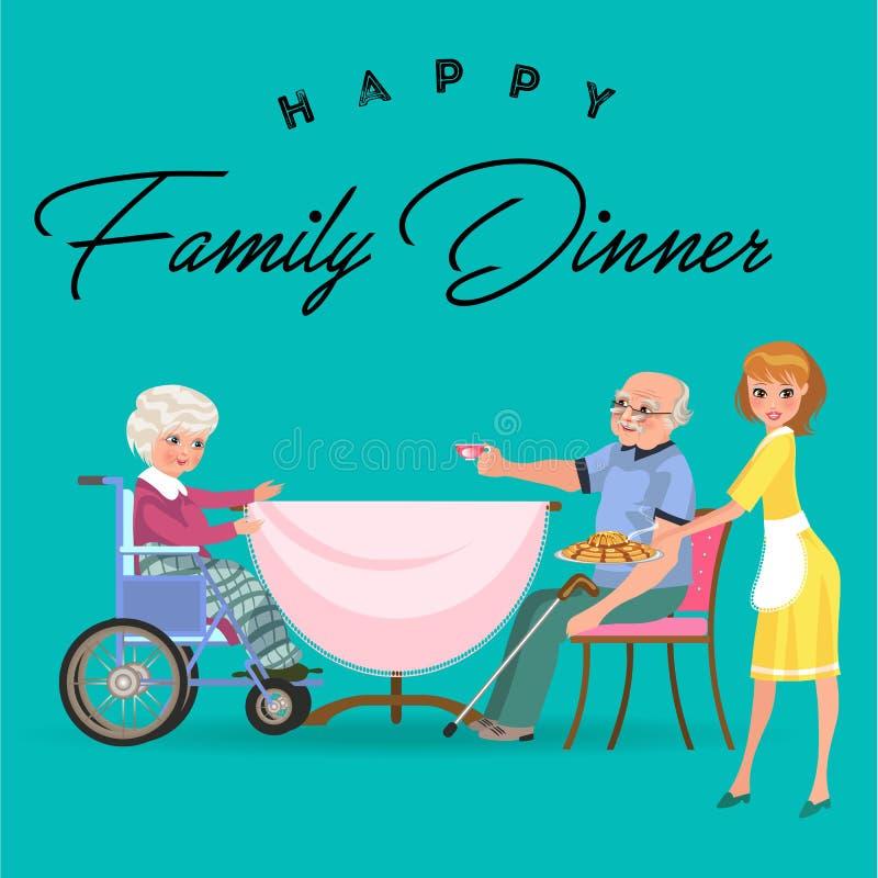 在家吃晚餐的家庭,愉快的人民一起吃食物,妈妈坐由餐桌,女孩作为的款待祖父 库存例证
