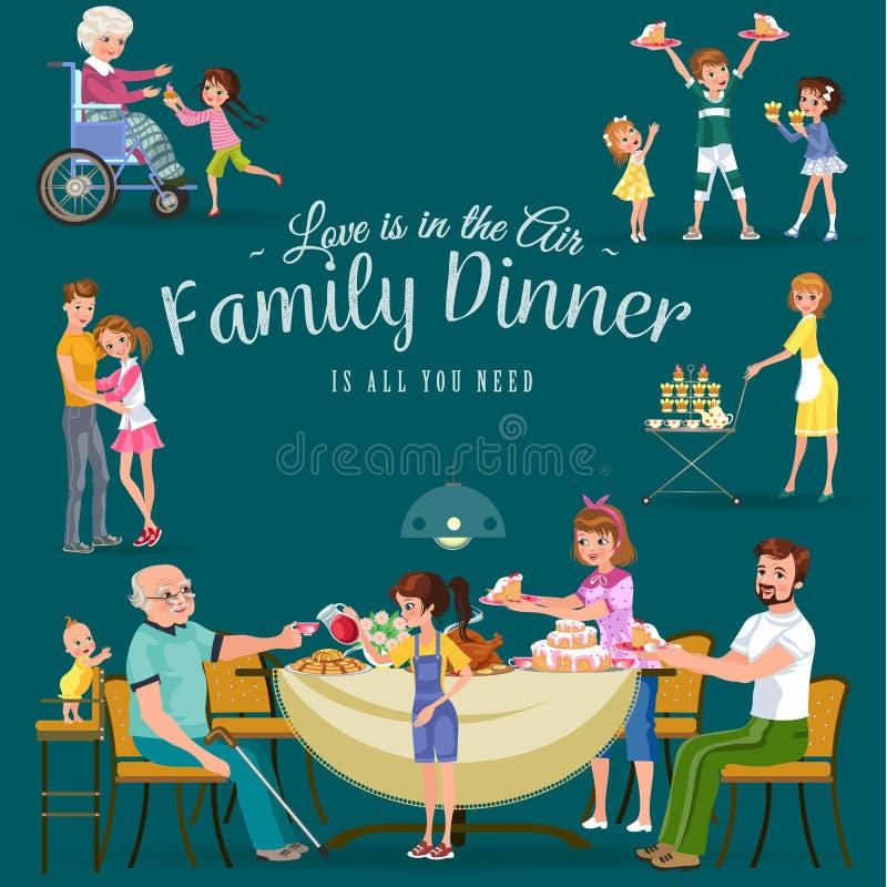 在家吃晚餐的家庭,愉快的人民吃食物一起,妈妈和爸爸坐由餐桌的款待祖父 向量例证