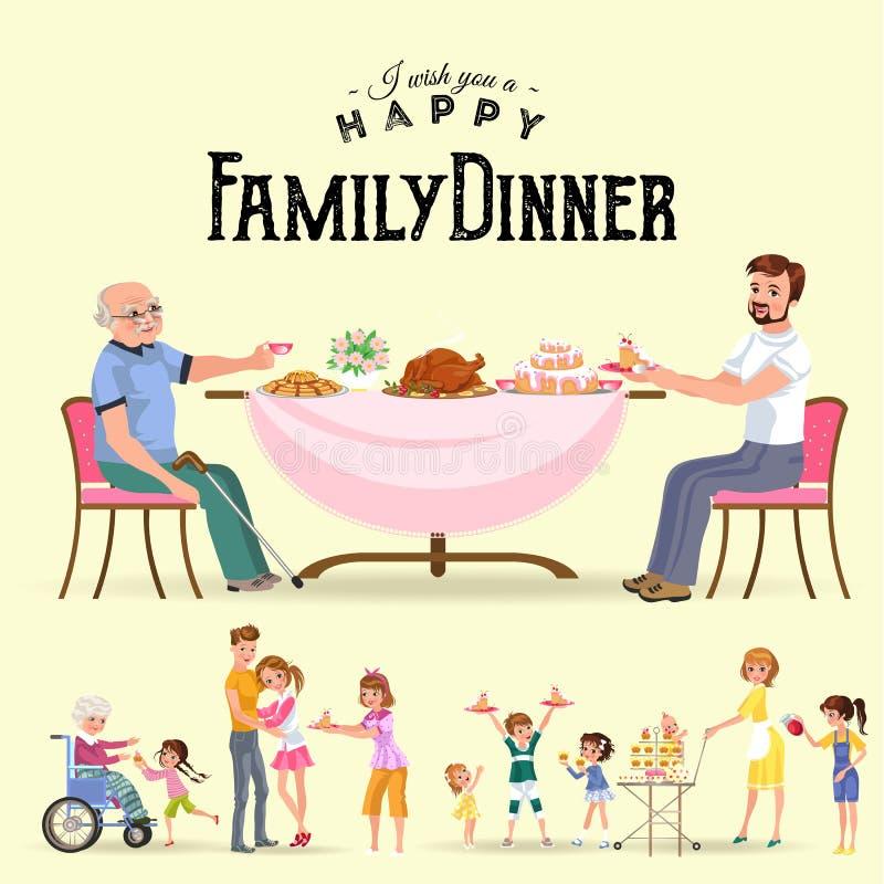 在家吃晚餐的家庭,愉快的人民吃食物一起,妈妈和爸爸坐由餐桌的款待祖父 库存例证