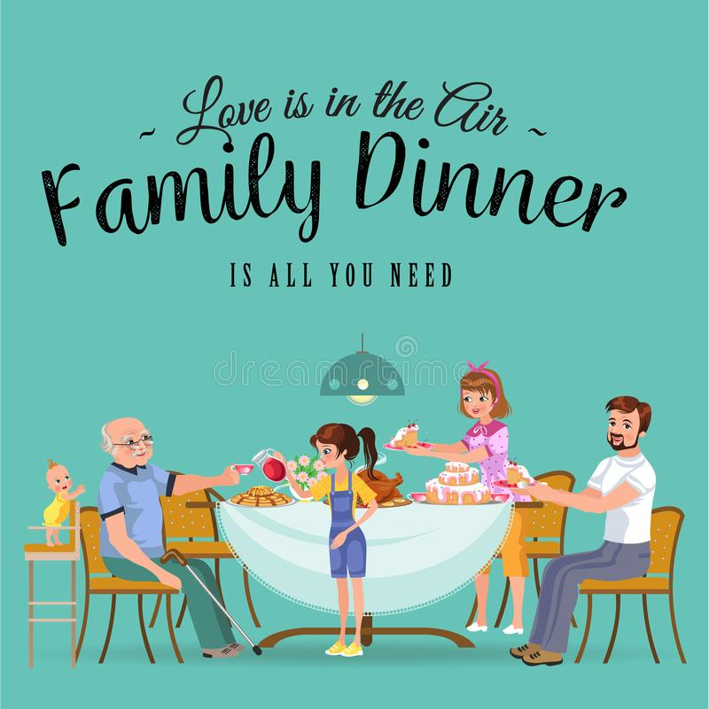 在家吃晚餐的愉快的家庭,人们吃食物一起,妈妈和爸爸坐由餐桌的款待祖父 皇族释放例证