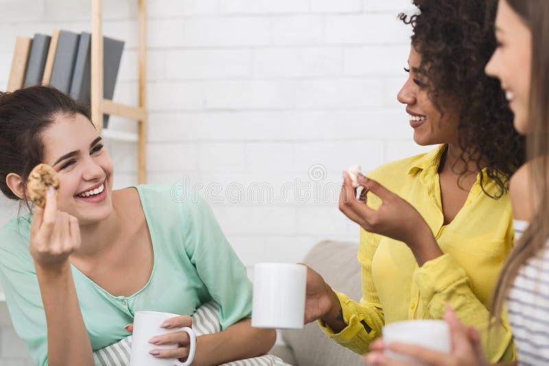 在家吃曲奇饼和喝茶的最好的朋友 免版税图库摄影