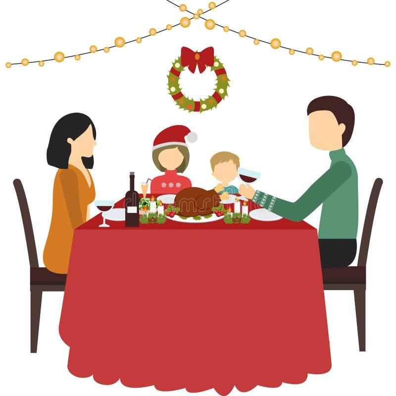 在家坐在桌附近和庆祝圣诞节的幸福家庭父亲、母亲、儿子和女儿 库存例证