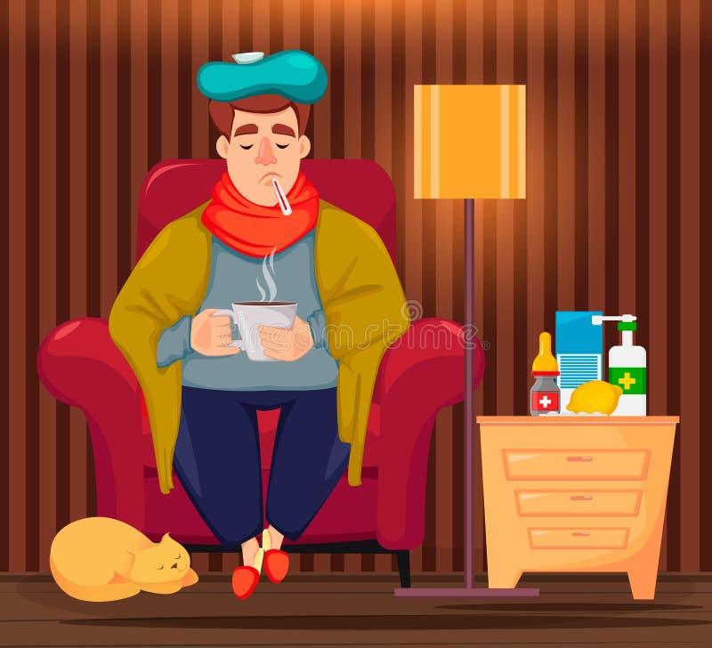 在家坐病的人和饮用的热的饮料 向量例证