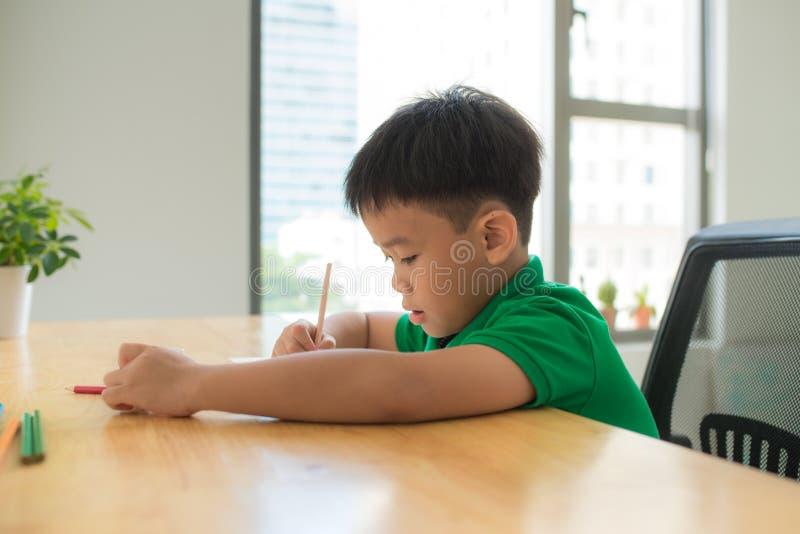 在家学习和做他的家庭作业,在桌上的亚洲小学生男孩,家庭教育,想法的行动 库存图片