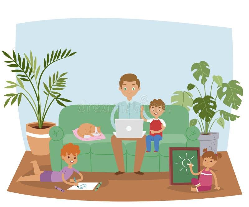 在家工作横幅传染媒介例证的繁忙的父亲 爸爸坐在客厅内部的沙发使用膝上型计算机一会儿 库存例证