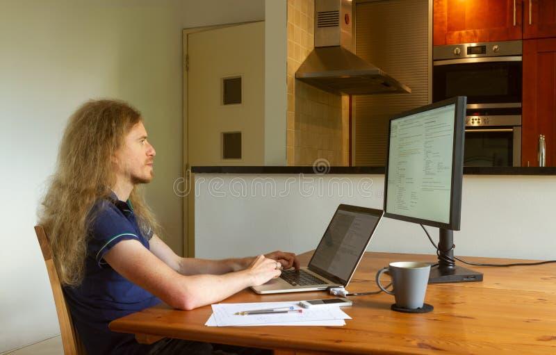 在家工作的人在锁闭期间在笔记本电脑上工作 免版税库存照片