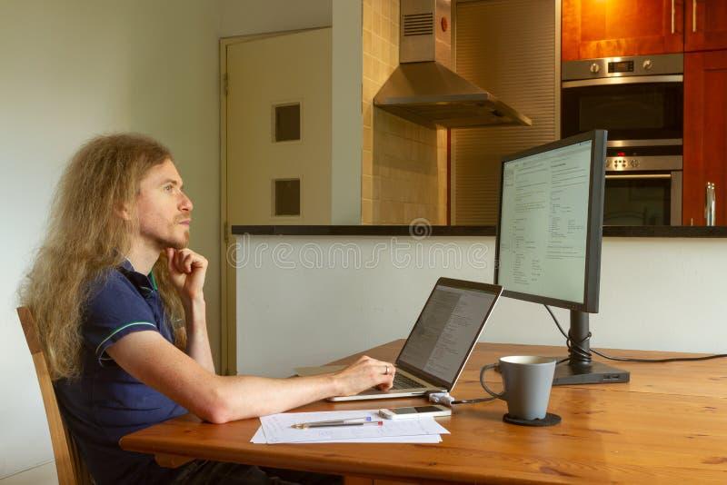 在家工作的人在锁闭期间在笔记本电脑上工作 免版税库存图片