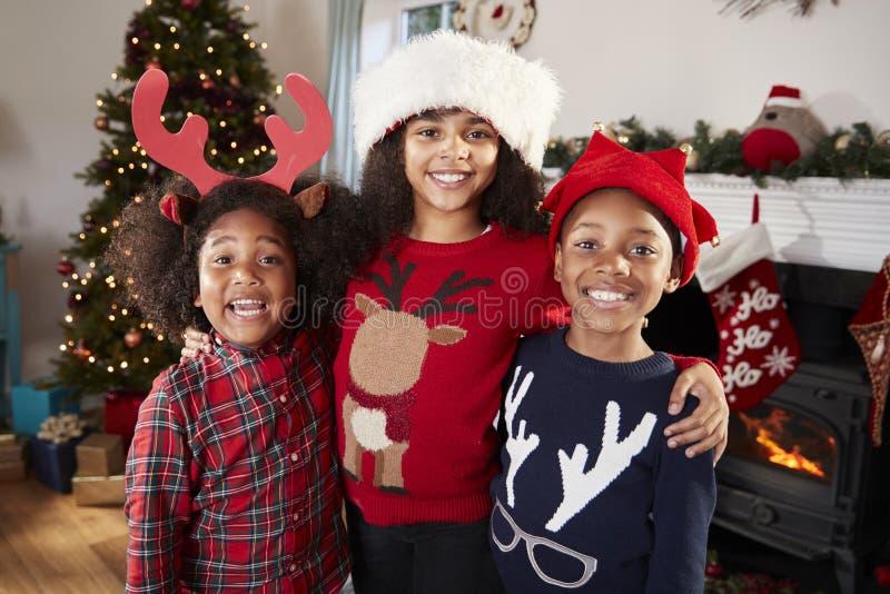 在家庆祝圣诞节的孩子佩带欢乐套头衫的和帽子画象一起 免版税库存照片